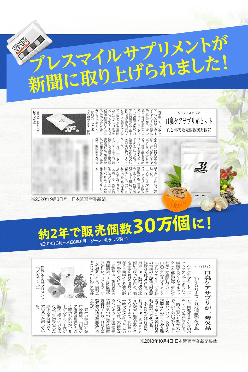 ブレスマイルサプリメントが新聞に取り上げられました!(※2020年9月3日号 日本流通産業新聞)